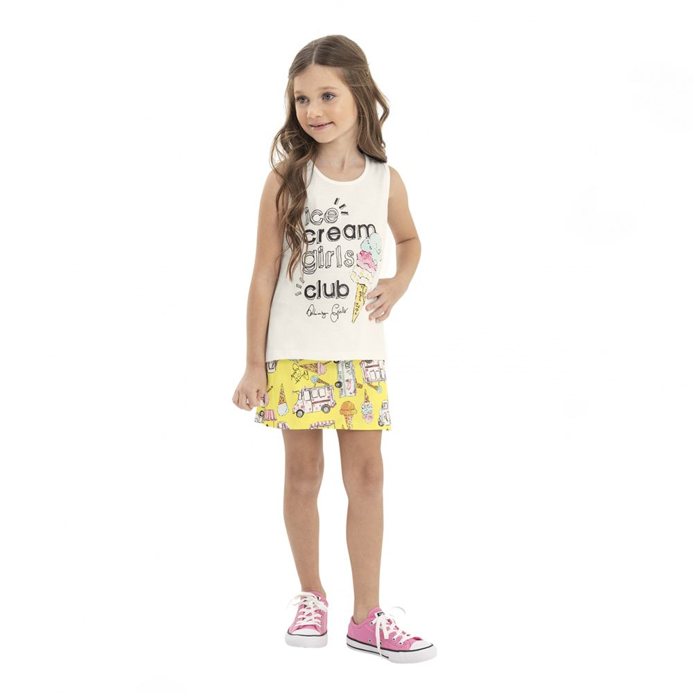 Conjunto Menina Quimby Ice Cream Blusa e Short Saia 28131