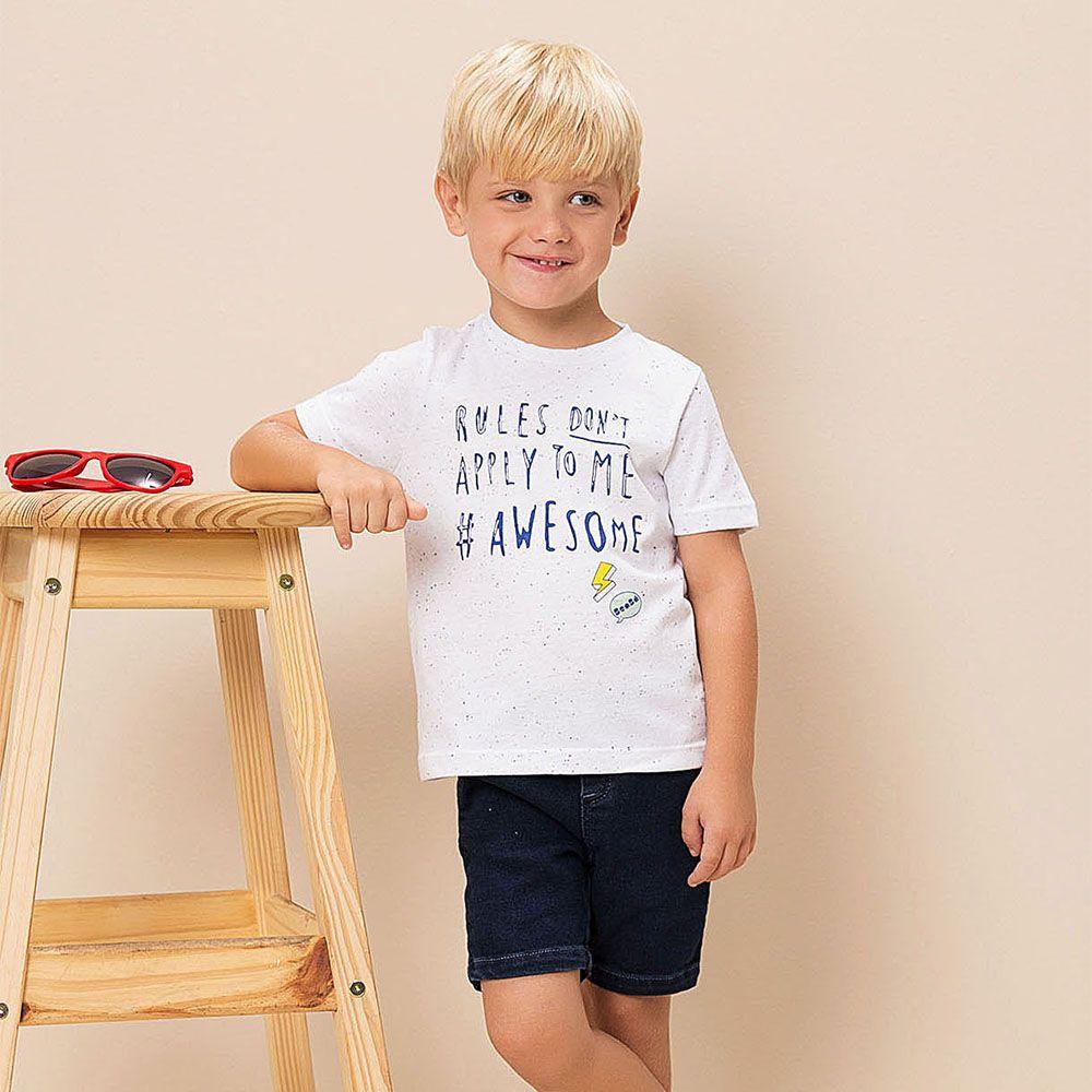 Conjunto Menino Beabá Blusa Rules Bermuda Jeans 778104