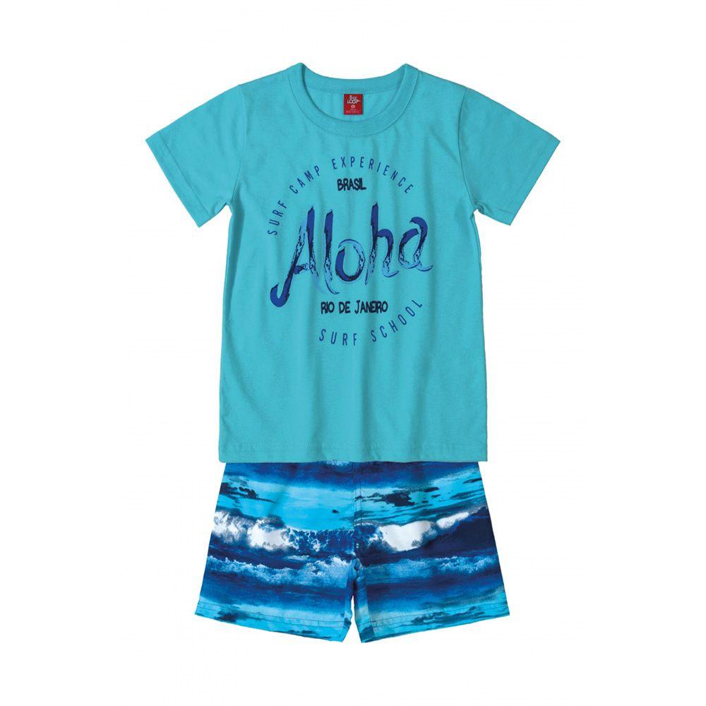 Conjunto Menino Bee Loop Aloha Azul Claro 13611