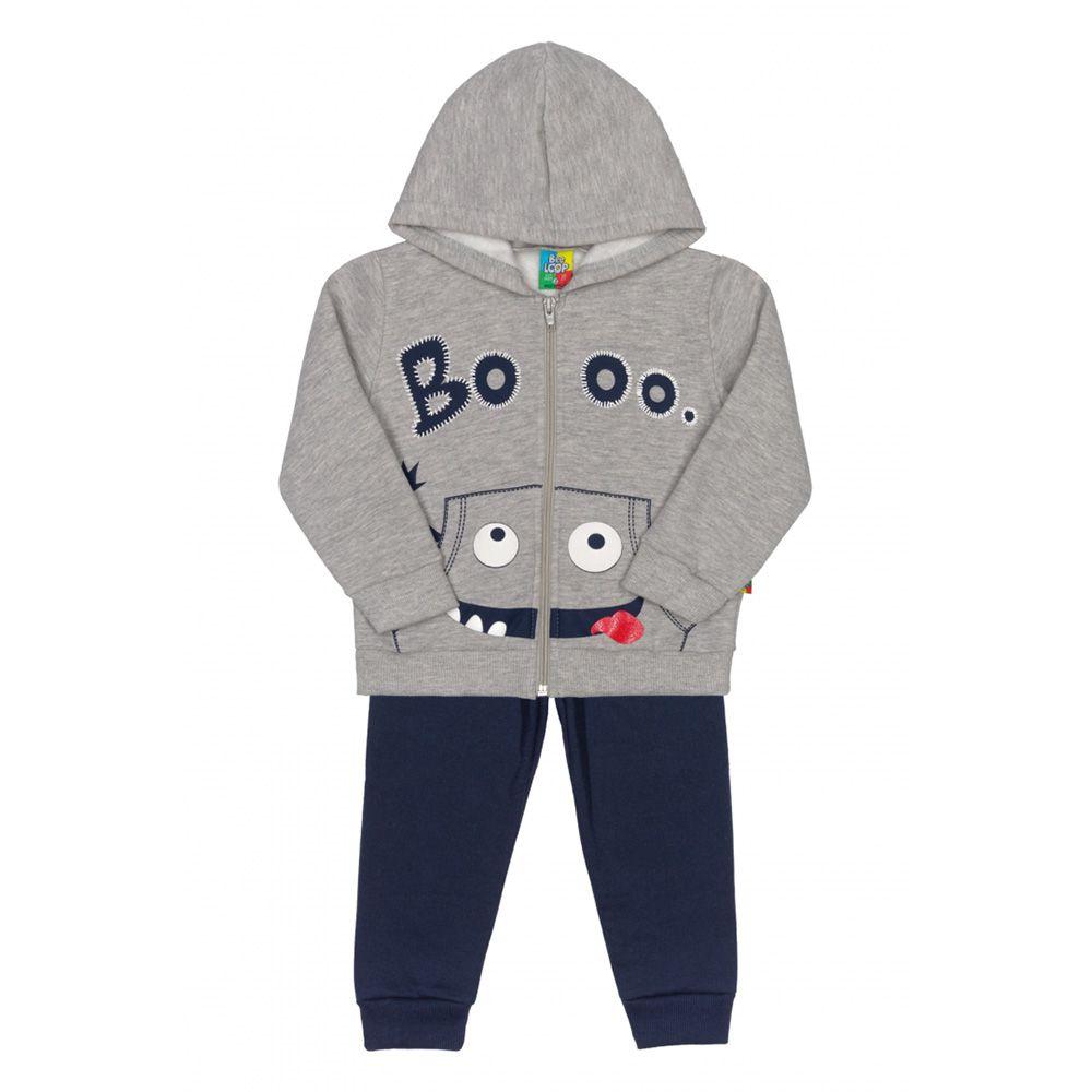 Conjunto Menino Bee Loop Casaco e Calça Moletom Boo Azul 13510