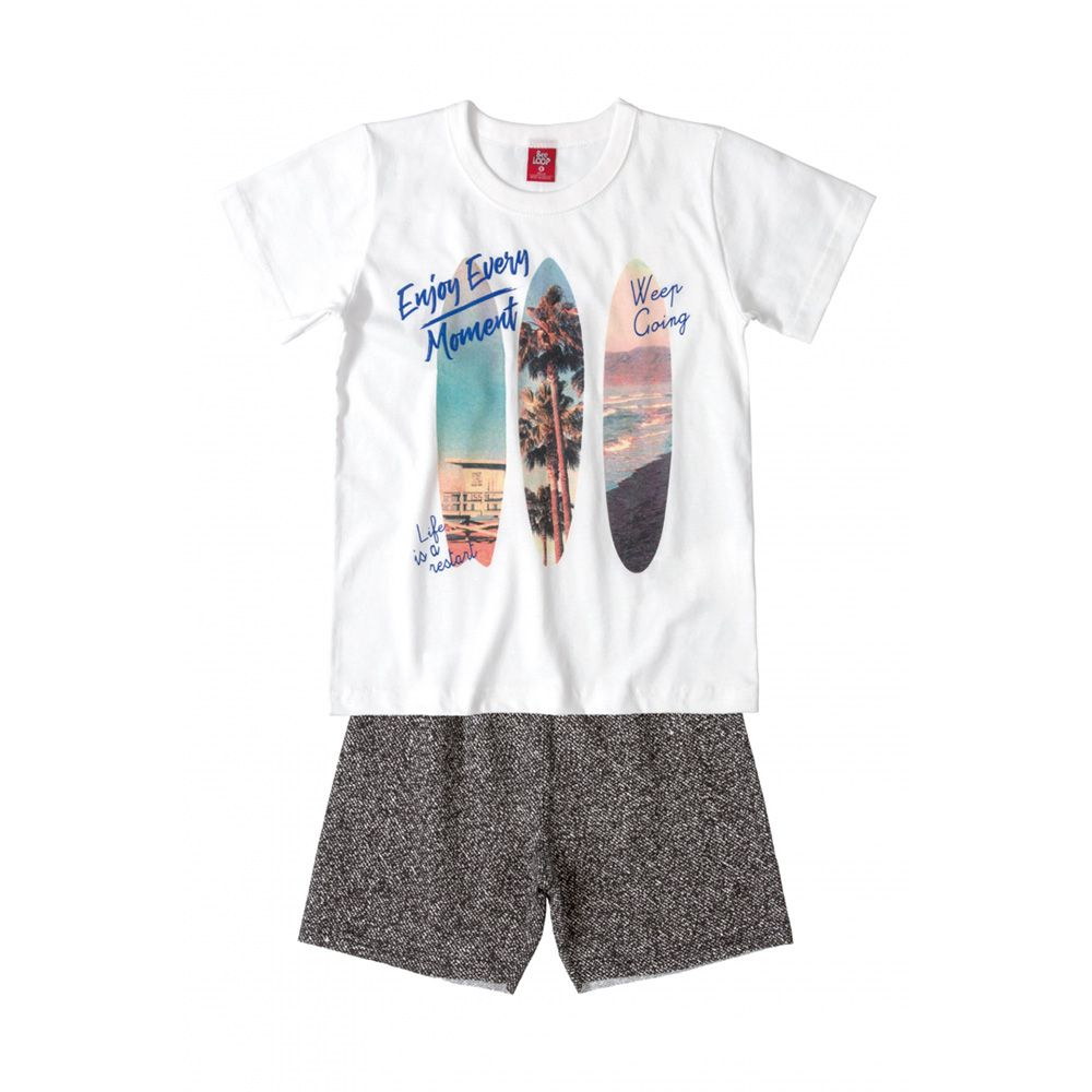 Conjunto Menino Bee Loop Enjoy Every Moment Branco 13613