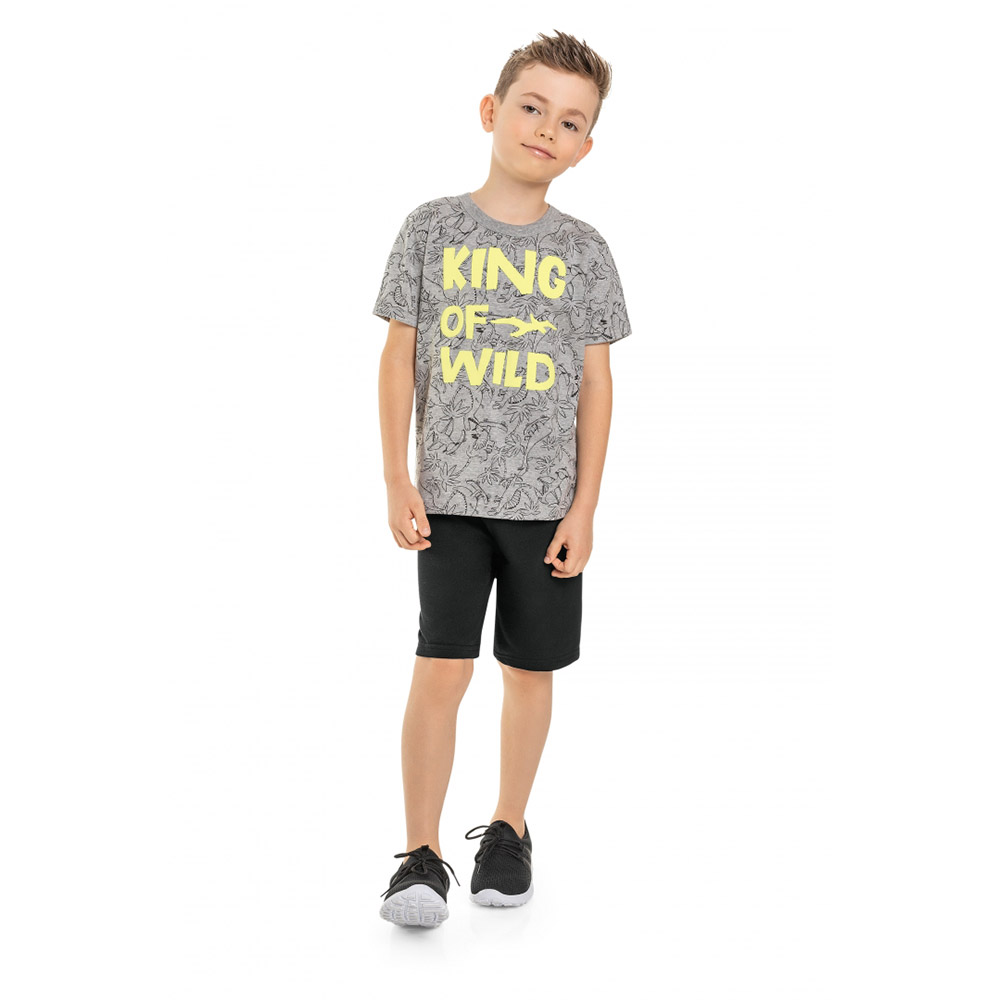 Conjunto Menino Bee Loop King Of Wild Cinza 13872