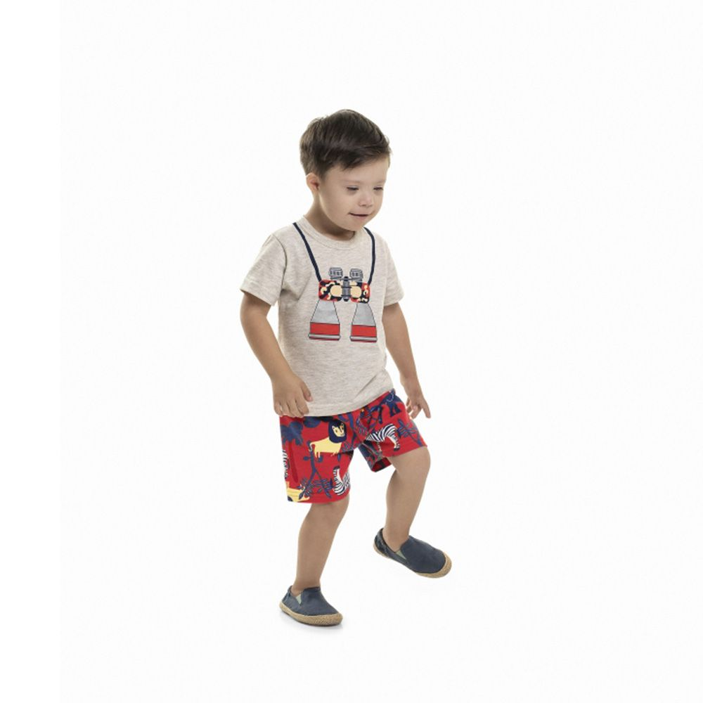 Conjunto Menino Bee Loop Safari Cinza 13603