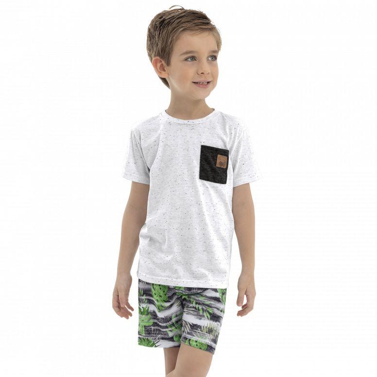 Conjunto Menino Quimby Camiseta com Rajadas e Short Tactell Branco 28141