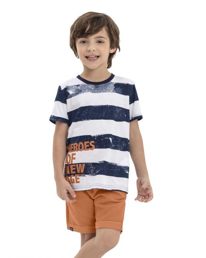Conjunto Menino Quimby Camiseta Listrada e Short Moletom 28147