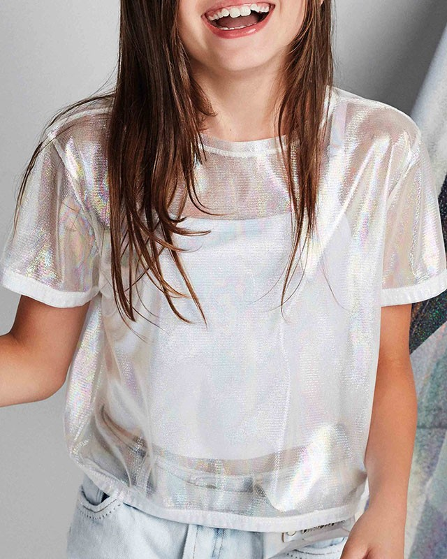 Cropped Menina Dimy Candy Brilho com Scrunchie 82219