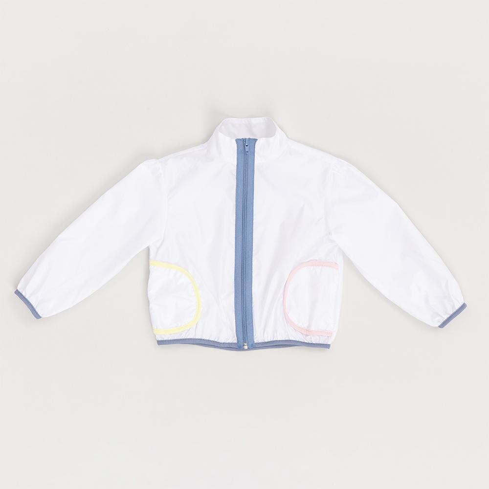 Jaqueta Beabá Corta Vento Branco com Friso Colorido 818011C