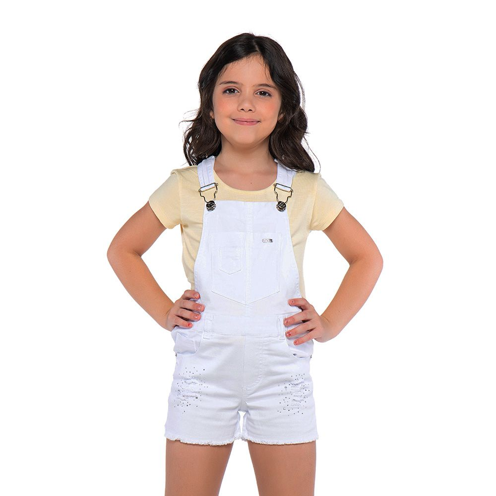 Jardineira Menina Mania Kids Branca com Strass 60842