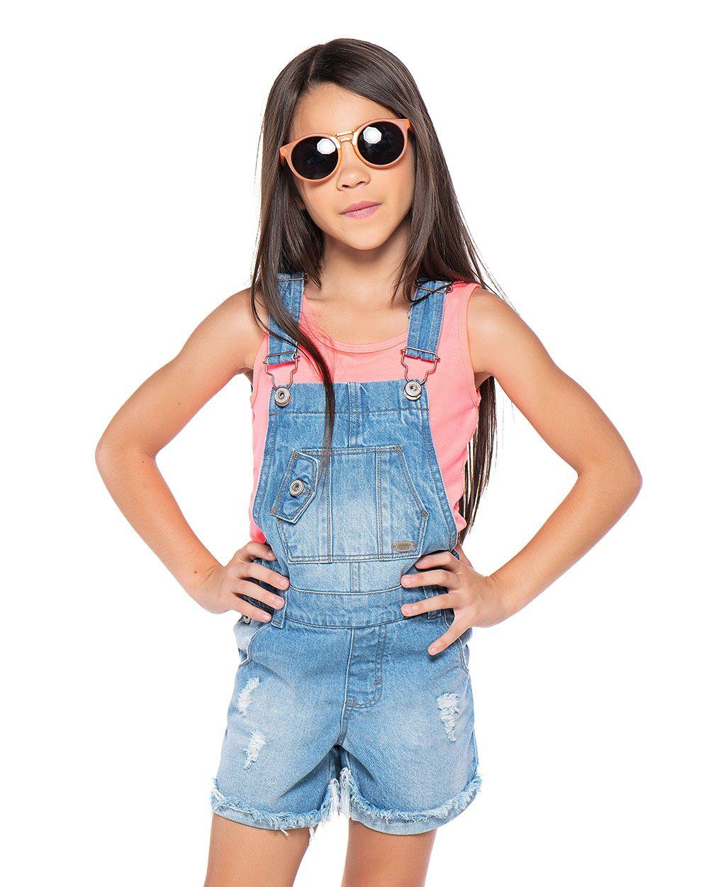 Jardineira Menina Mania Kids Jeans 60864