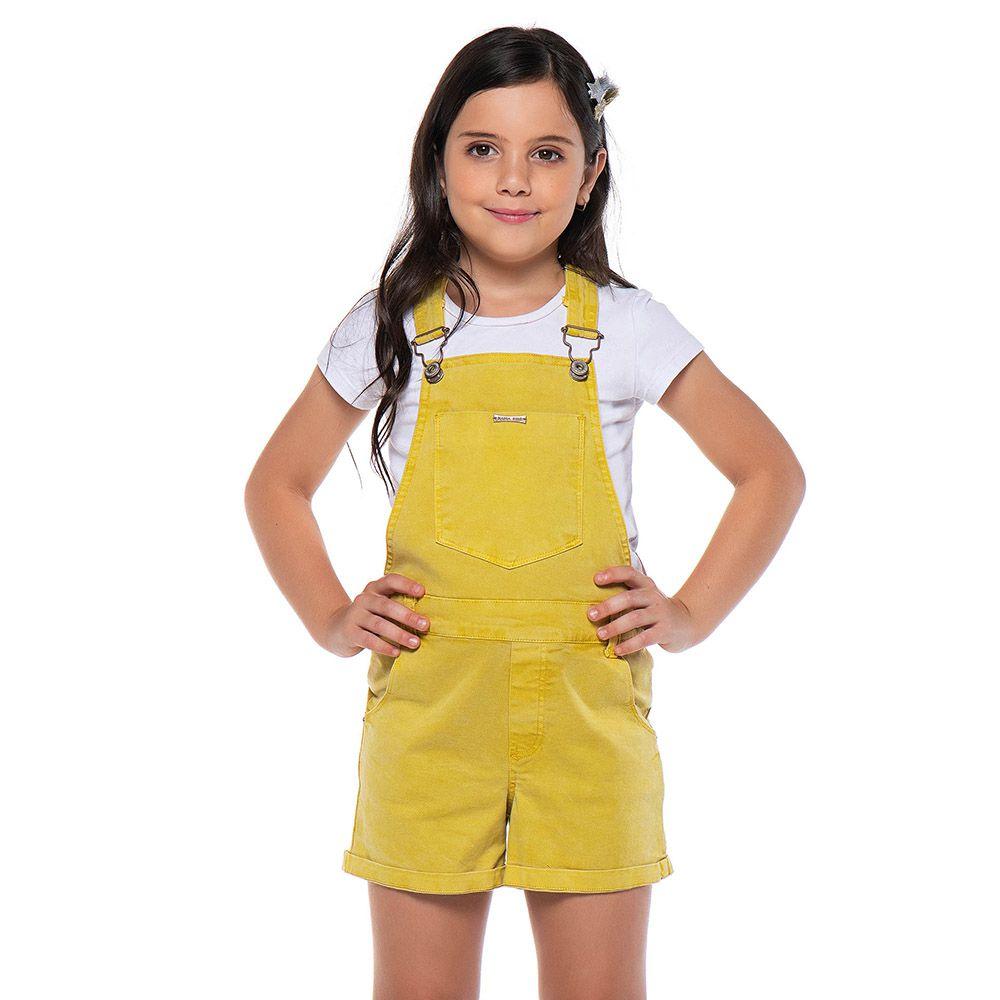 Jardineira Menina Mania Kids Mostarda 60902Mos