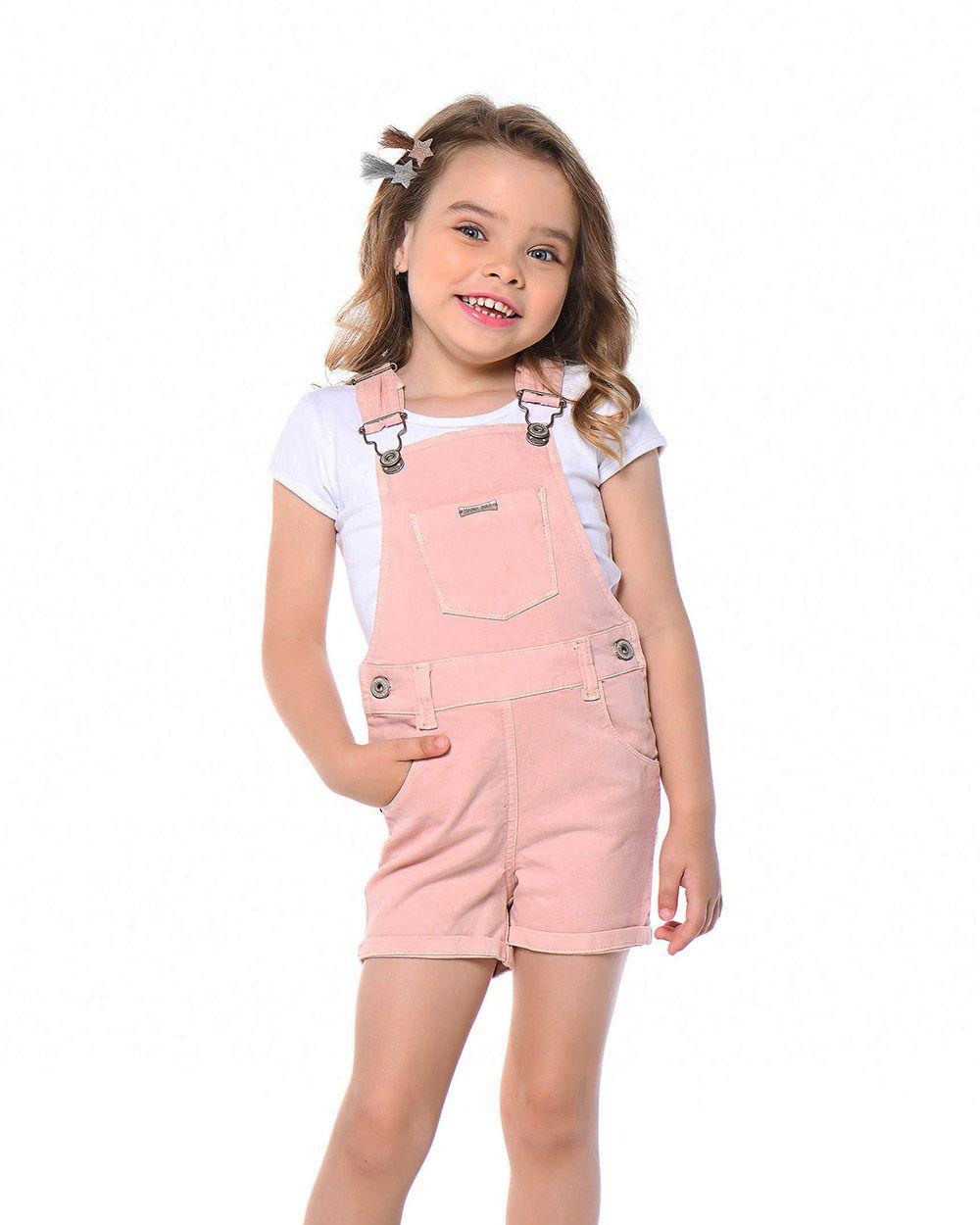Jardineira Menina Mania Kids Rosa 50719Rs