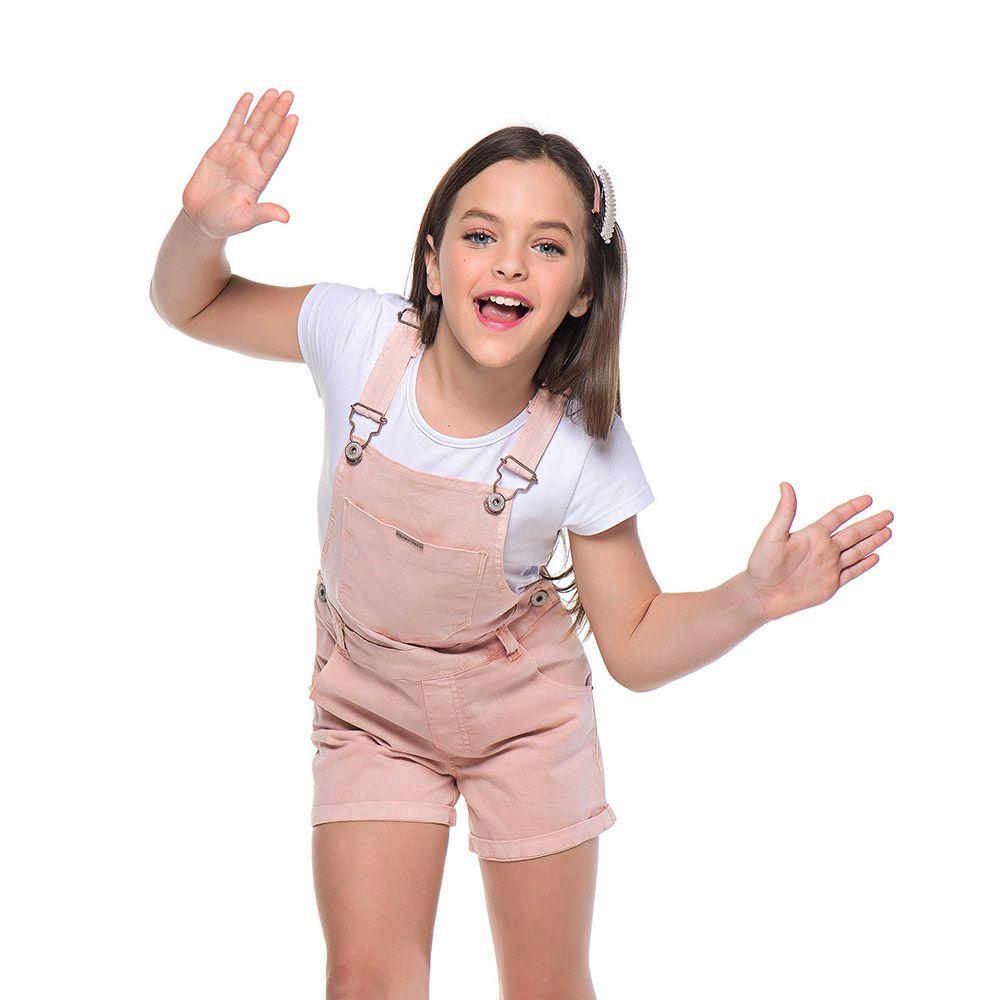 Jardineira Menina Mania Kids Rosa 60902Rs