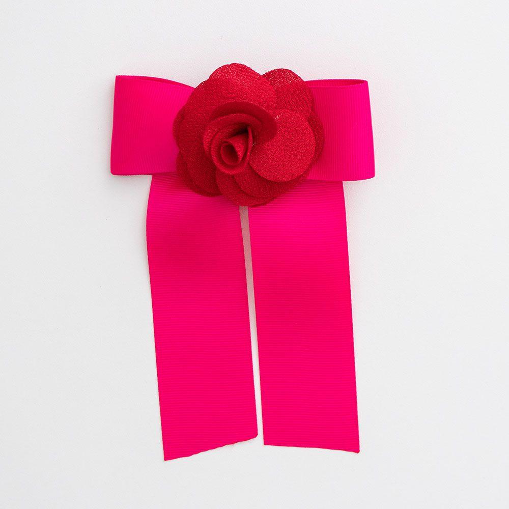Laço Menina É Cada Uma Chanel com Flor Pink e Vermelho