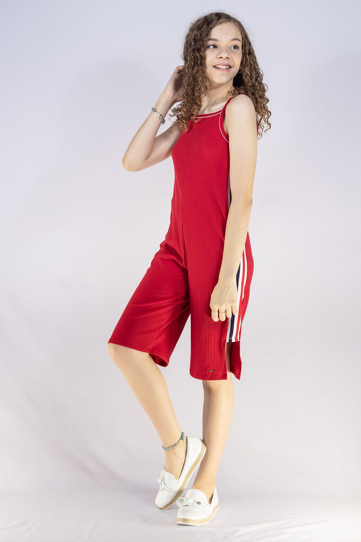 Macacão Menina Animê Canelado Vermelho e Faixa Lateral N0136
