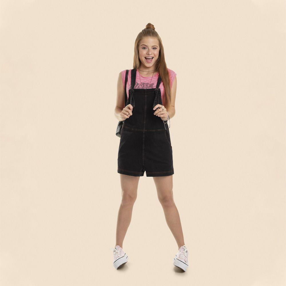 Macacão Menina Gloss Jeans Preto 31005