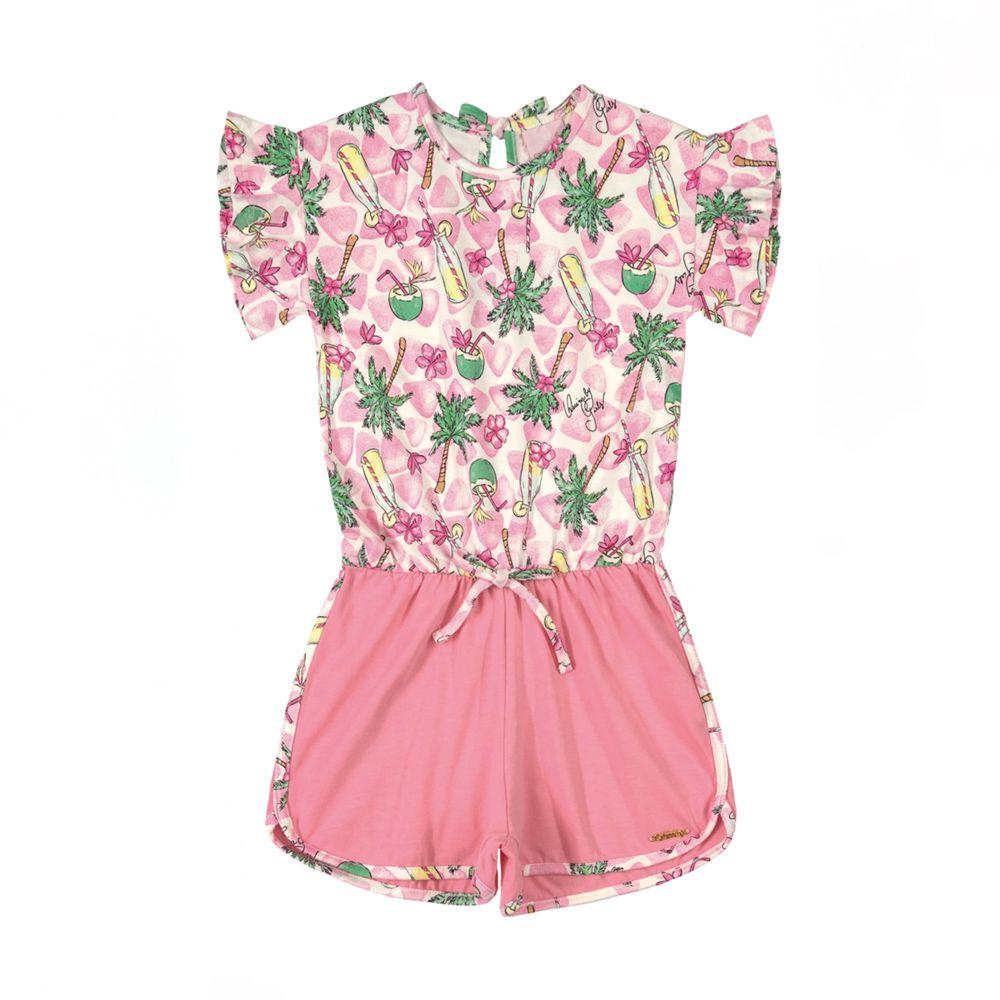 Macacão Menina Quimby Coqueiros Rosa Claro 28094
