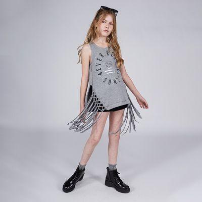 Regata Menina Dimy Candy Cinza com Franjas 81853