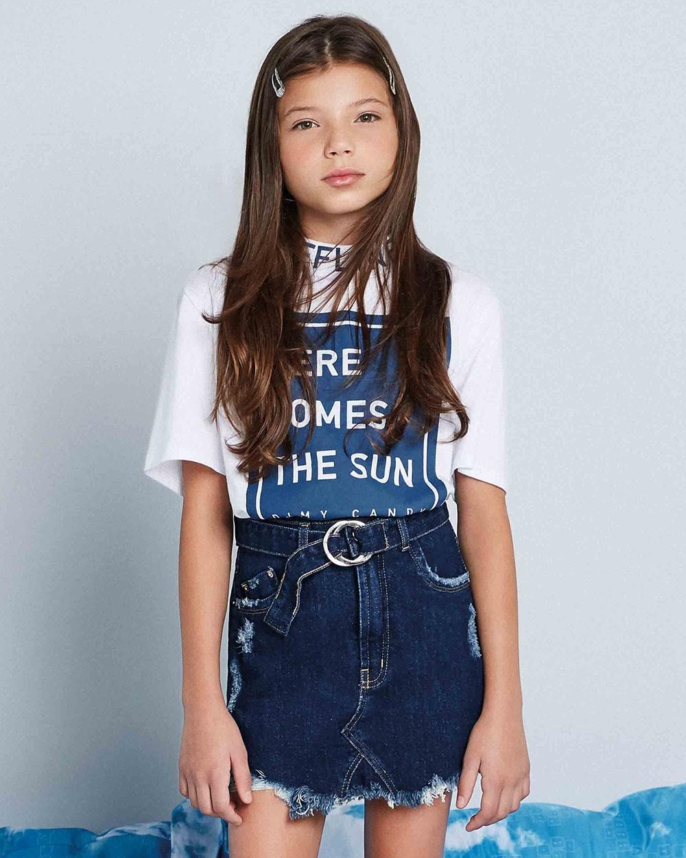 Saia Menina Dimy Candy Jeans Escuro com Cinto 82101