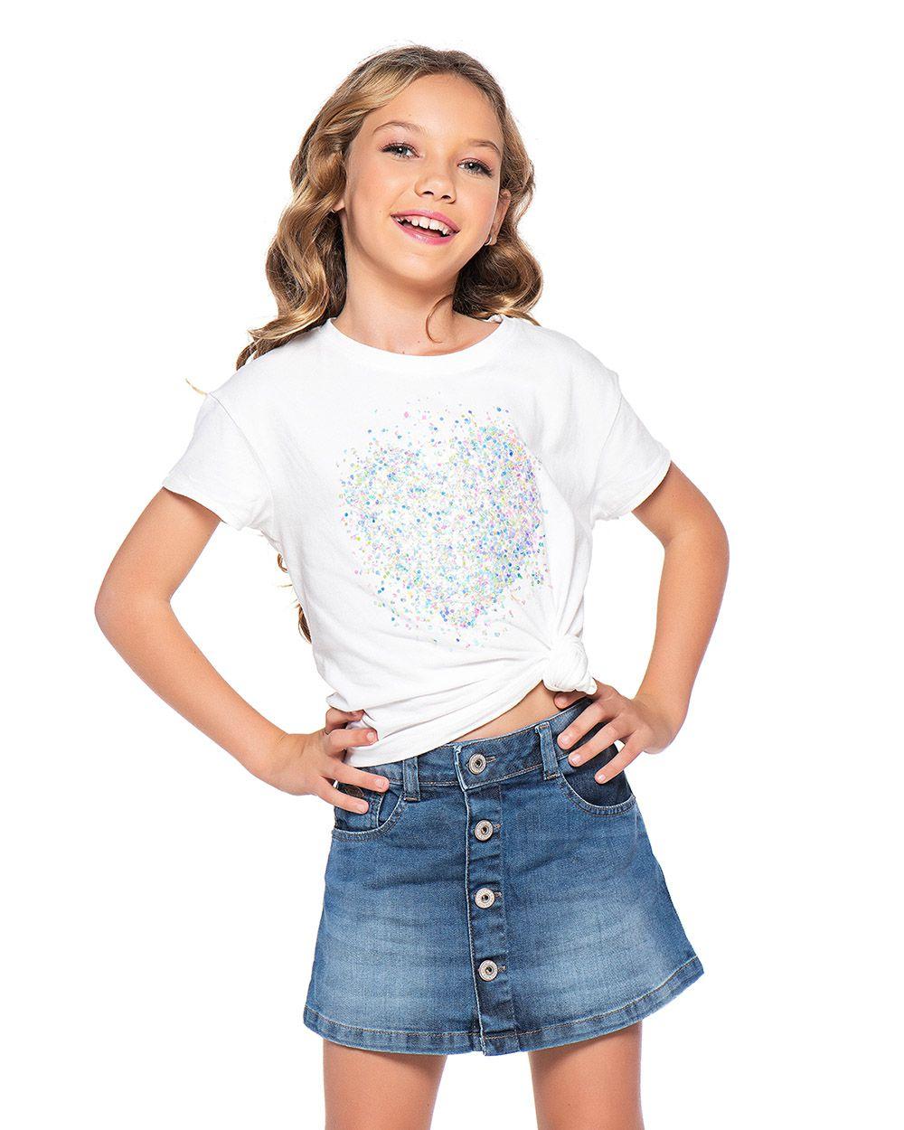 Saia Menina Mania Kids Jeans com Botão 60846