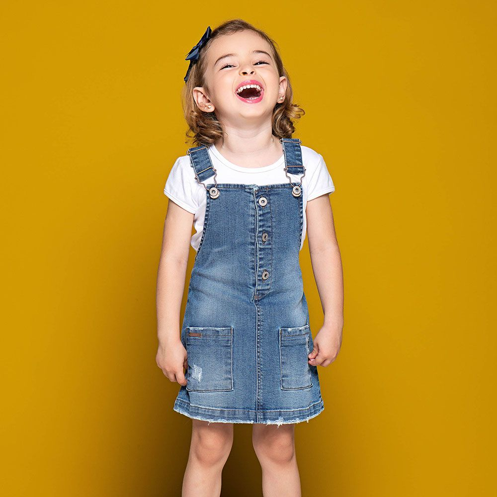 Salopete Menina Mania Kids Jeans com Bolso 50726