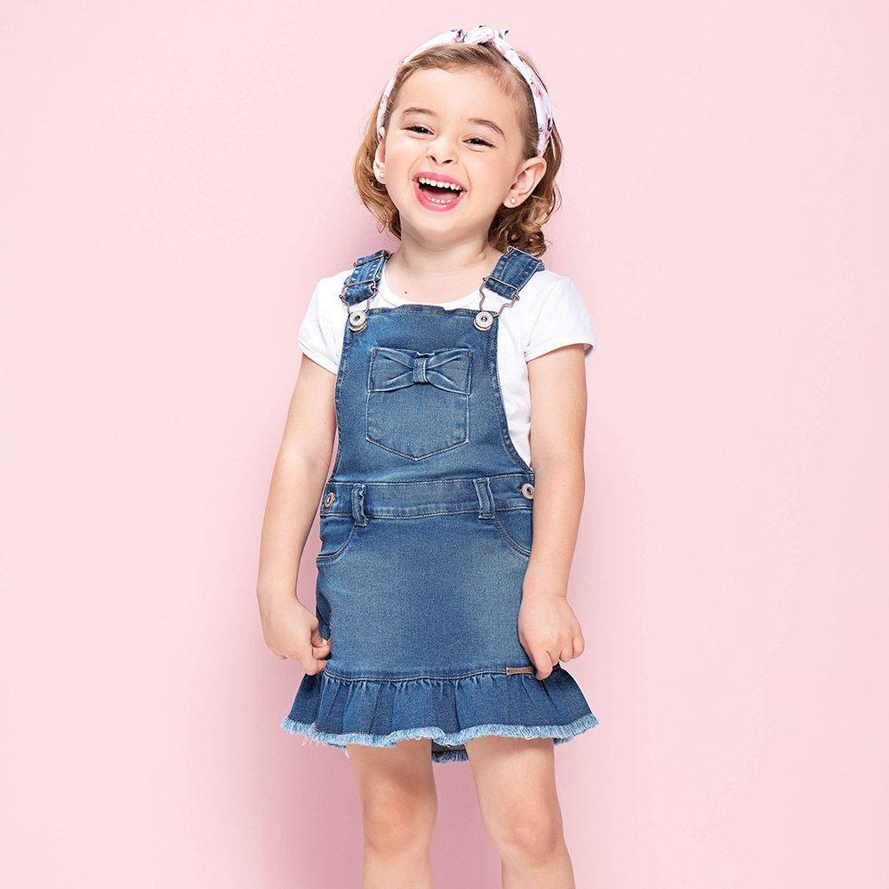 Salopete Menina Mania Kids Jeans com Laço 50723