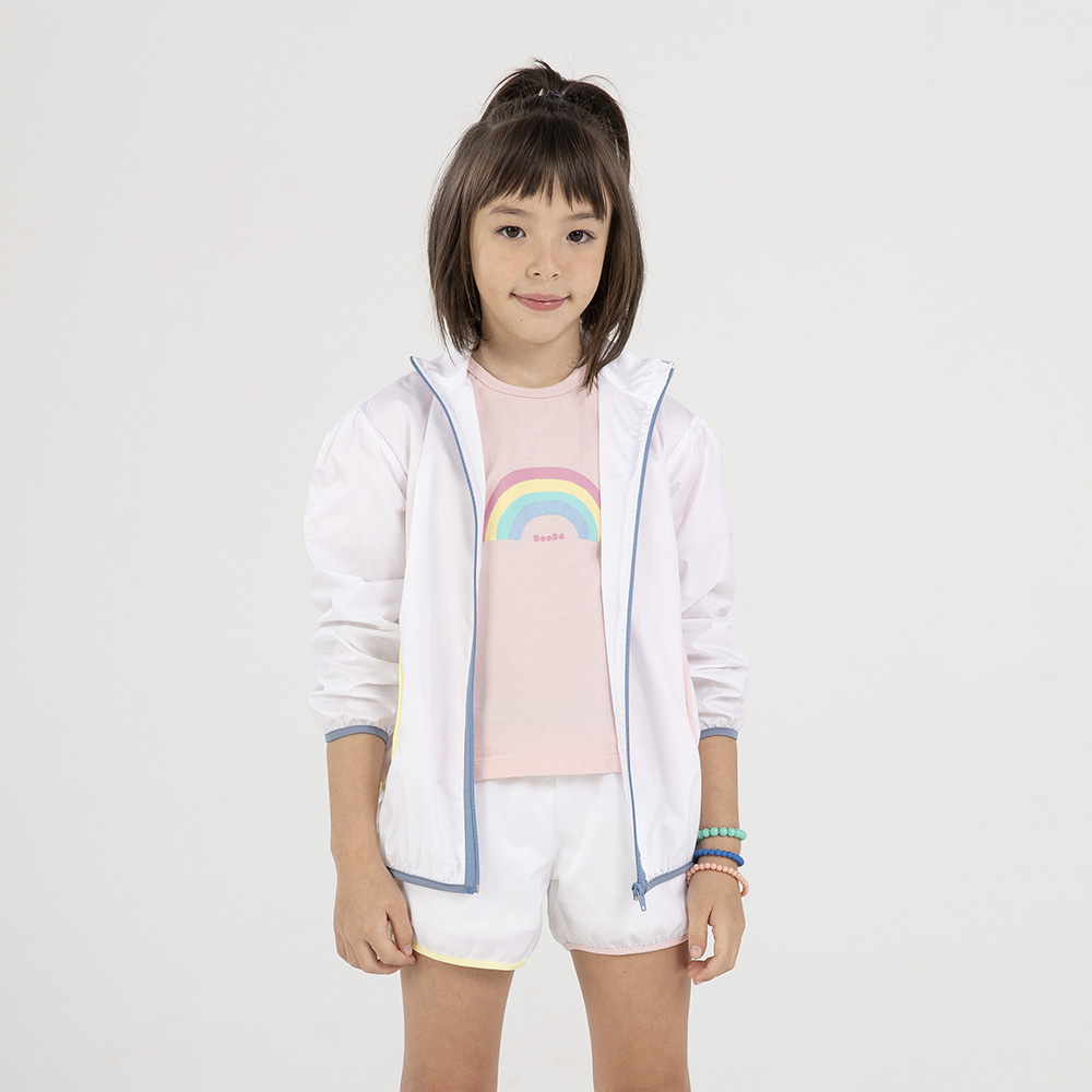 Short Beabá em Nylon Branco com Friso Colorido 818011B