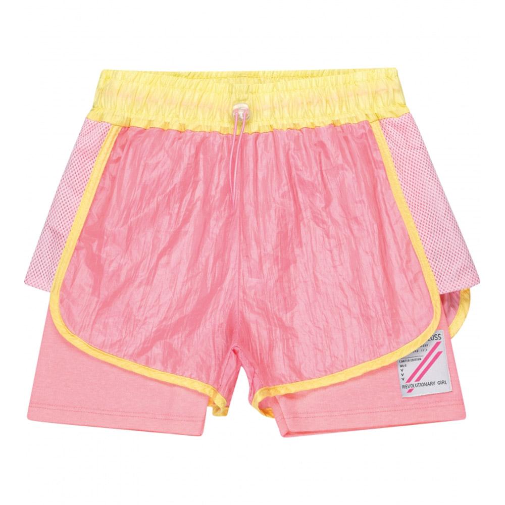 Short Gloss em Tecido Rosa e Limão 31261rs