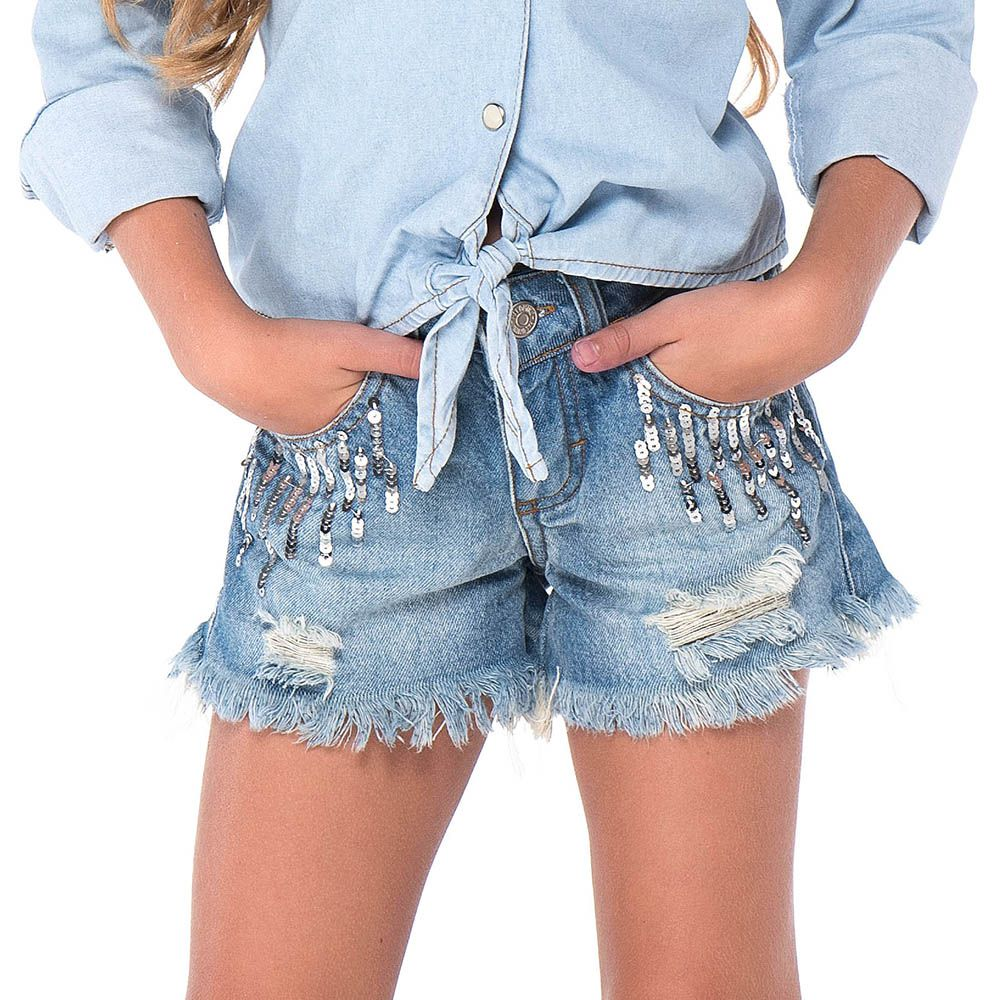Short Jeans Menina Mania Kids 60704