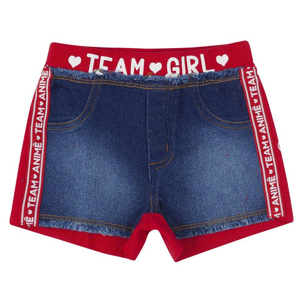 Short Menina Animê Jeans com Moletom Vermelho P3386