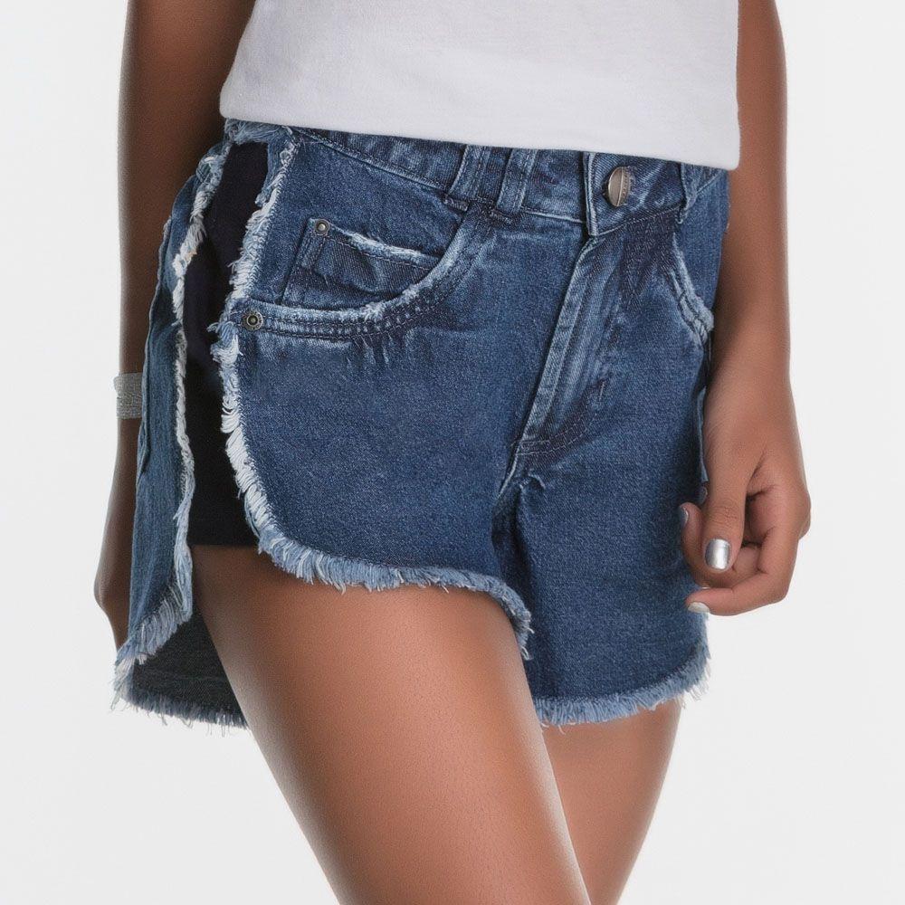 Short Menina Bobbylulu Jeans com Friso Preto 20S039