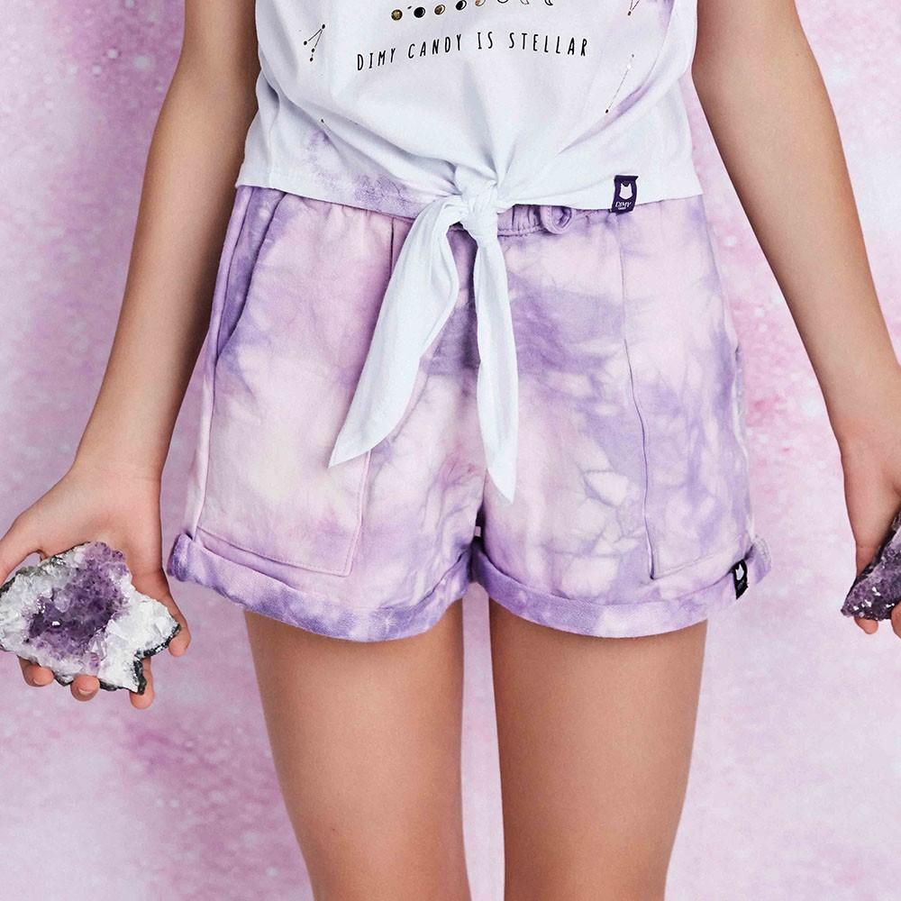 Short Menina Dimy Candy Ametista Tie Dye 82114