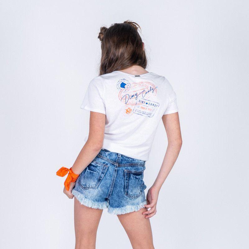 Short Menina Dimy Candy Jeans Assimétrico 81567