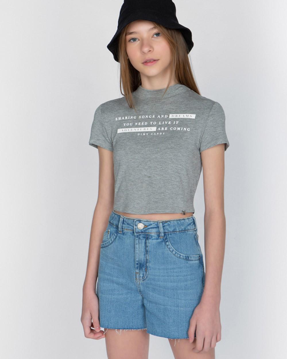 Short Menina Dimy Candy Jeans Claro Alto Boyfriend 82002