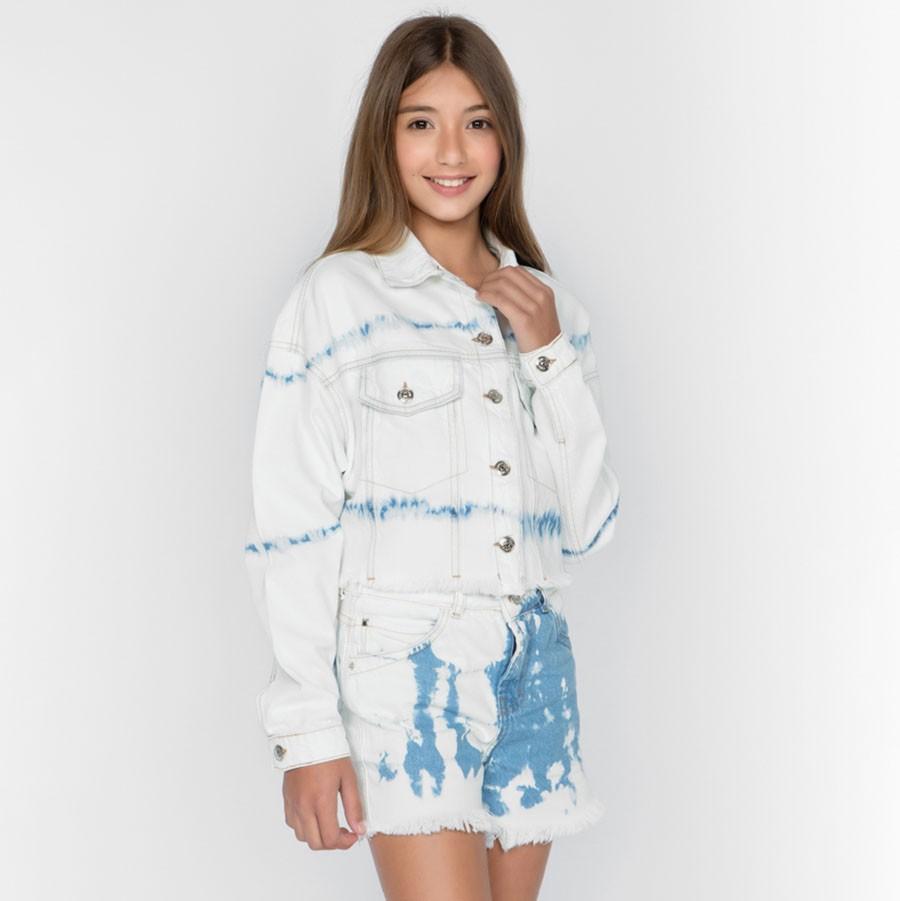 Short Menina Dimy Candy Jeans Claro e Tie Dye 82105