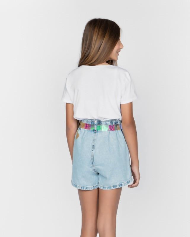 Short Menina Dimy Candy Jeans Cós Elástico com Cinto 82021