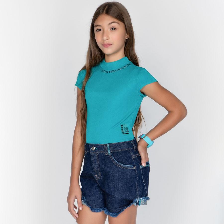 Short Menina Dimy Candy Jeans Escuro com Pesponto Azul 82094