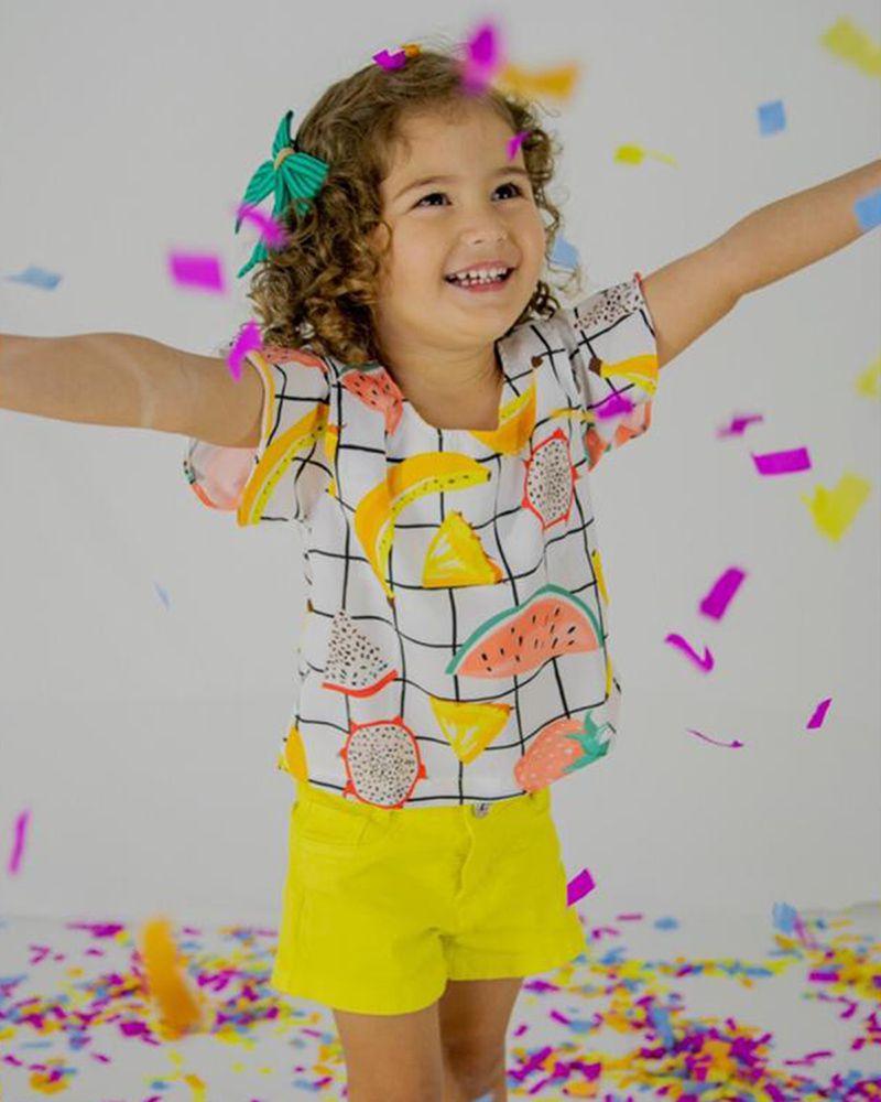 Short Menina L2M Kids Amarelo 052