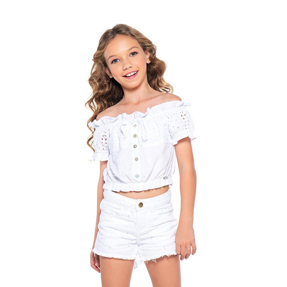 Short Menina Mania Kids Branco Destroyed 60843