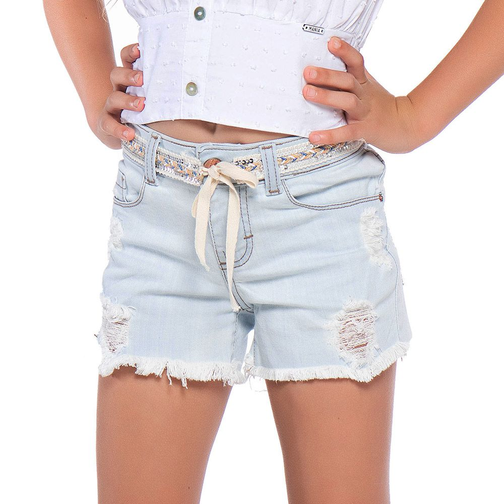 Short Menina Mania Kids Jeans Claro com Cinto 60885