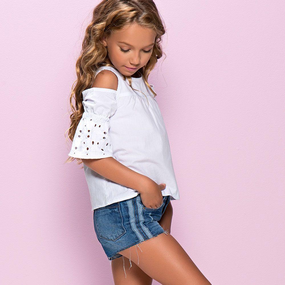 Short Menina Mania Kids Jeans com Detalhe Faixa 60822