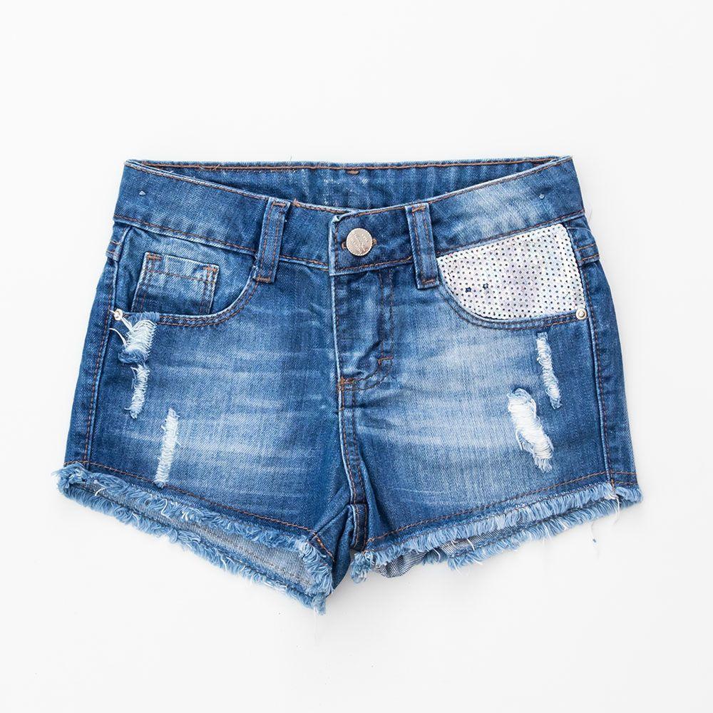 Short Menina Mania Kids Jeans Esc com Brilho 60717