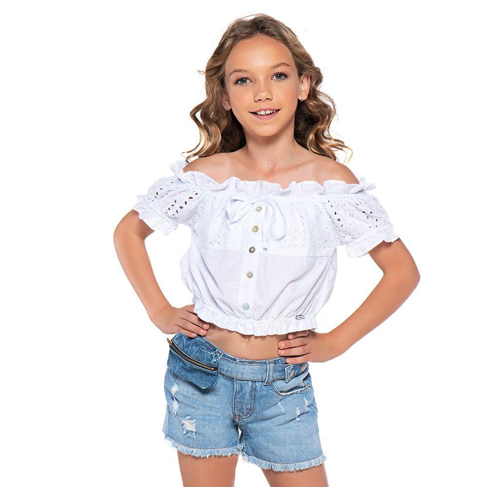 Short Menina Mania Kids Jeans Médio com Pochete 60841