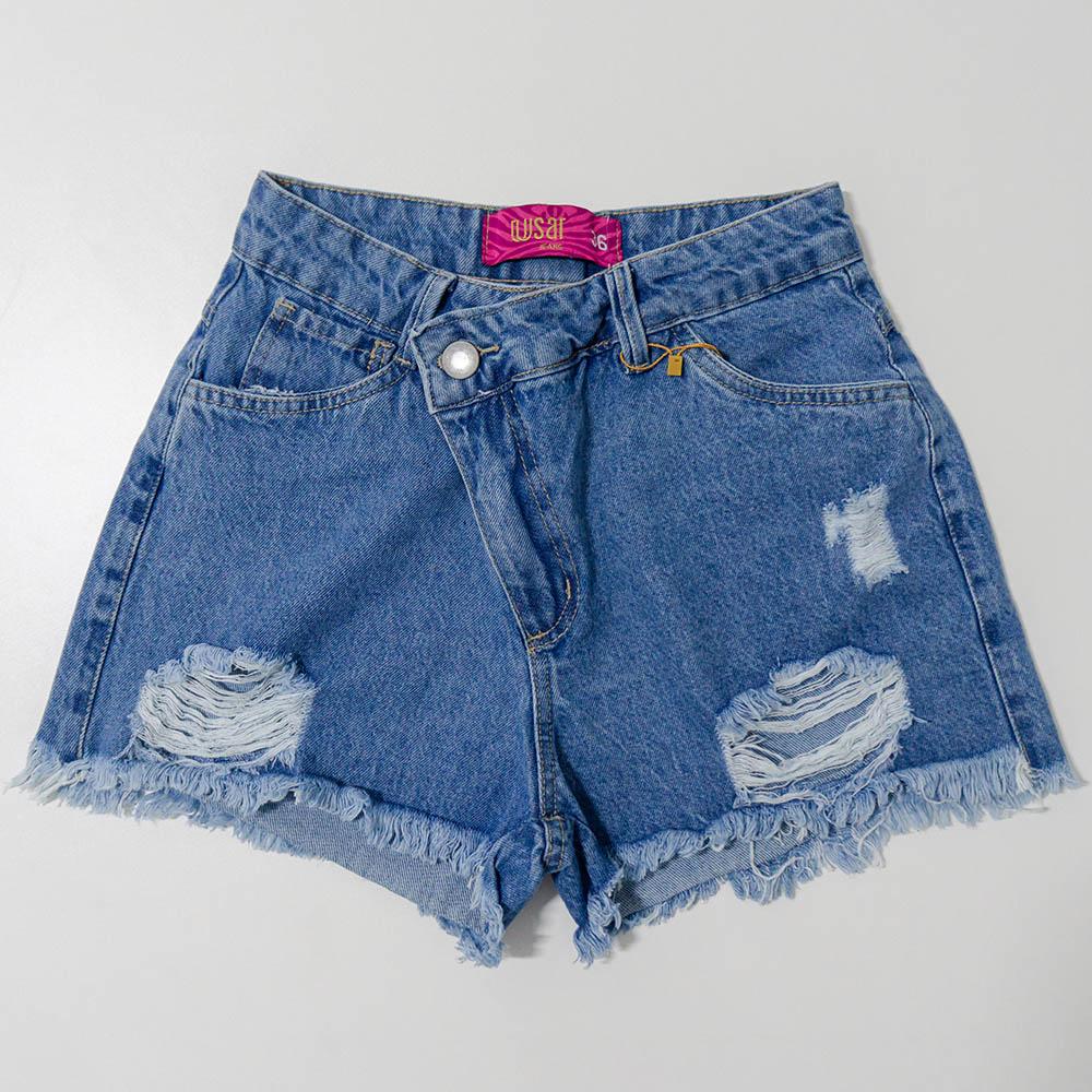 Short Menina Usar Jeans Cós Assimétrico 117