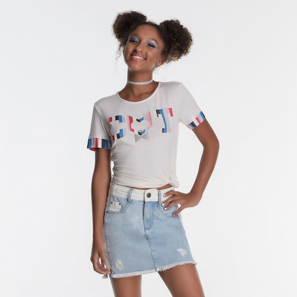 Short Saia Menina Bobbylulu Jeans com Branco Online 20S061
