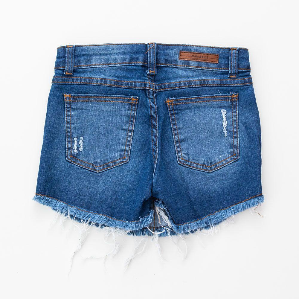 Short Saia Menina Mania Kids Jeans com Detalhe Onça 60806