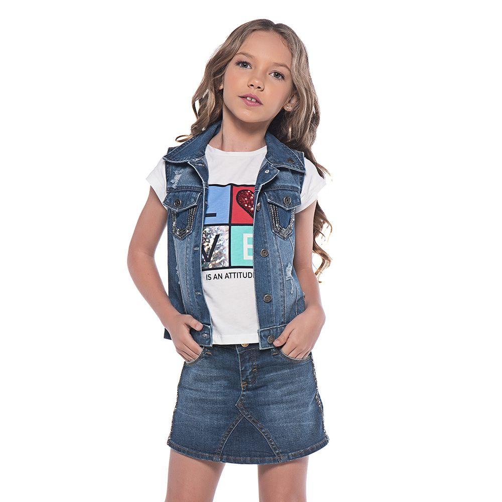 Short Saia Menina Mania Kids Jeans com Pedras Lat 60767