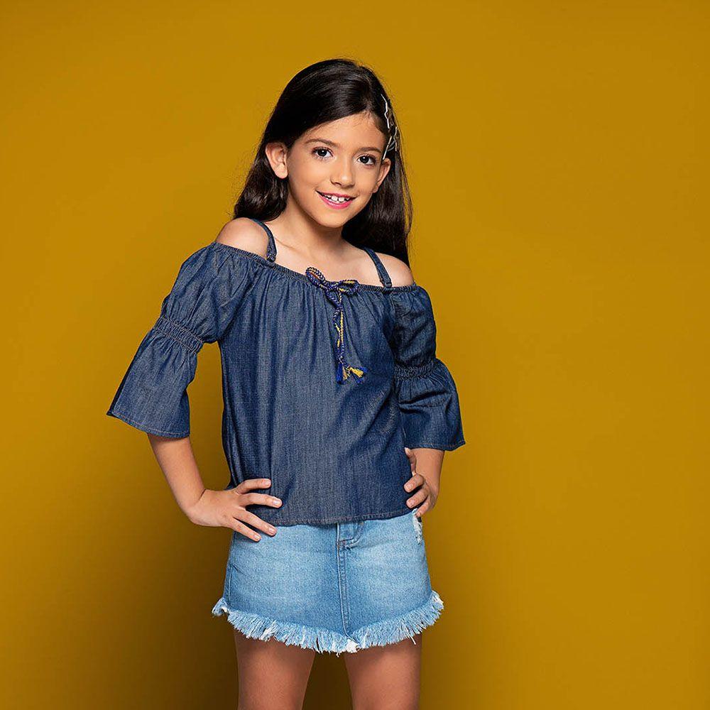 Short Saia Menina Mania Kids Jeans Médio com Barra Desfiada 60889