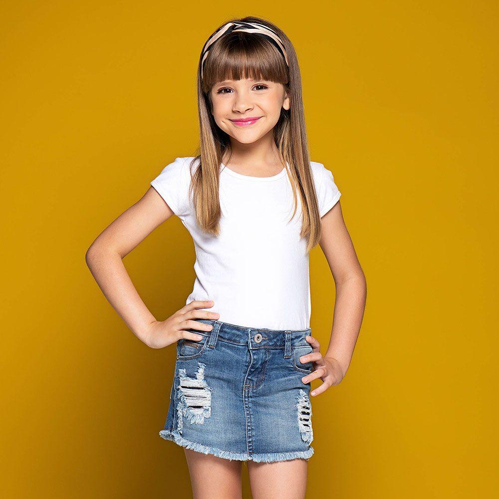 Short Saia Menina Mania Kids Jeans Médio com Rasgo 50711