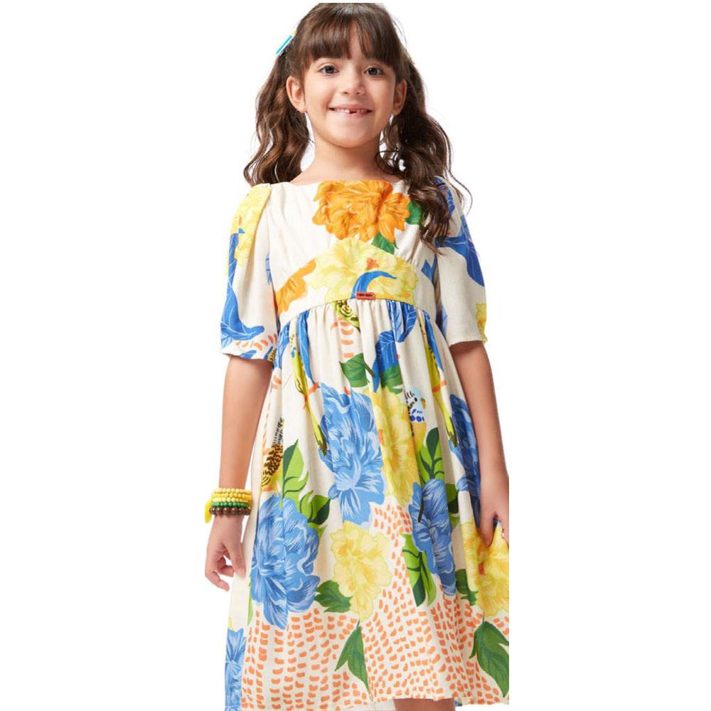 Vestido Camu Camu Midi Floral Periquito 8307