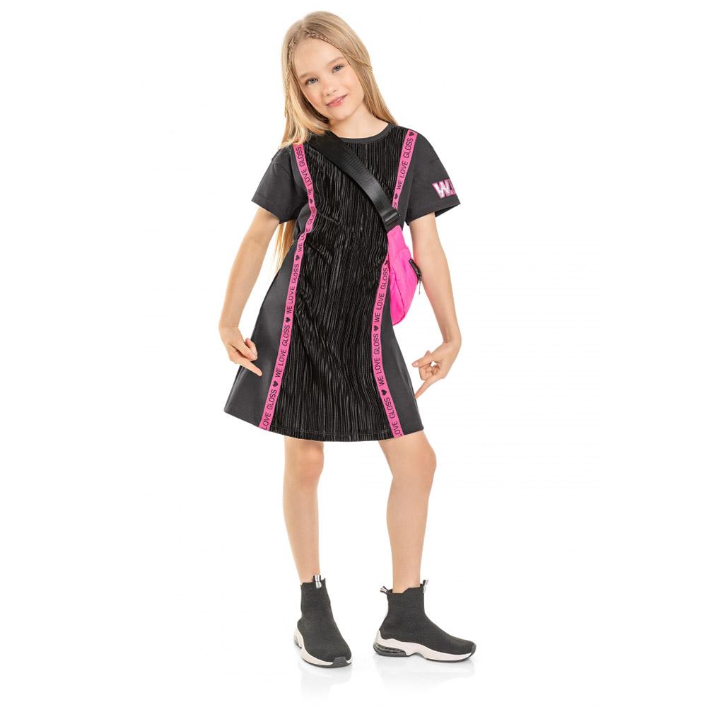 Vestido Gloss Malha Plissada Chumbo 31174